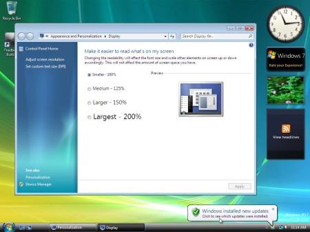 Panoramica sul Desktop e finestra sulla regolazione delle dimensioni dei caratteri