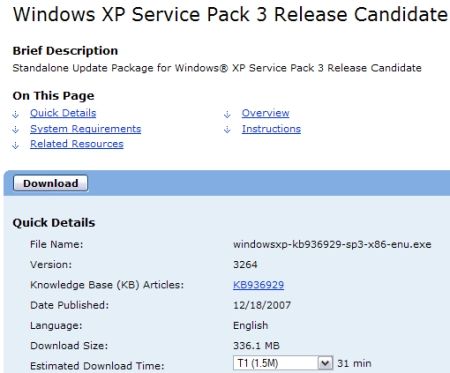 Anteprima del download di Windows XP SP3 Release Candidate